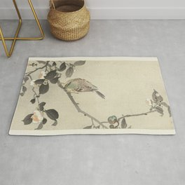 Bunting on blossom branch - Ohara Koson (1900 - 1930) Rug