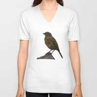 birdy V-neck T-shirts featuring Birdy by Robin Graham