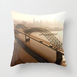 Hernando de Soto Bridge in Memphis Throw Pillow