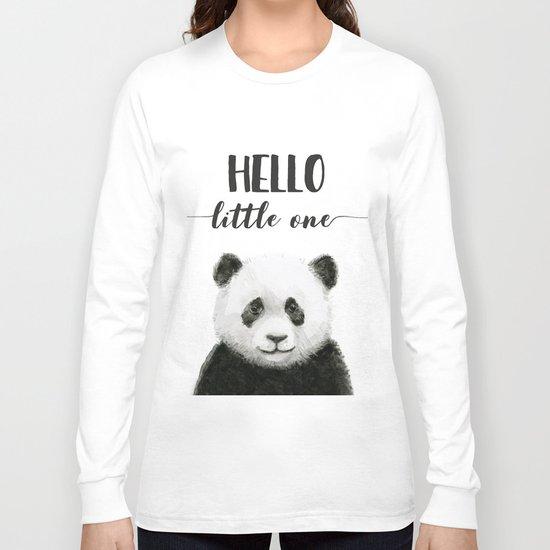 Panda Art Print Baby Animals Hello Little One Nursery Decor Long Sleeve T-shirt
