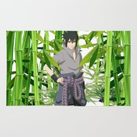 ramen Area & Throw Rugs featuring Sasuke by tanduksapi