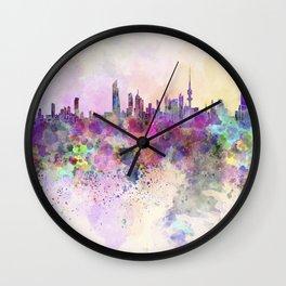 Kuwait City skyline in watercolor background Wall Clock