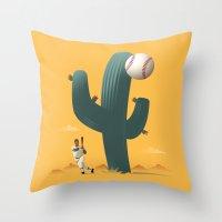 league Throw Pillows featuring Cactus League by John W. Tomac