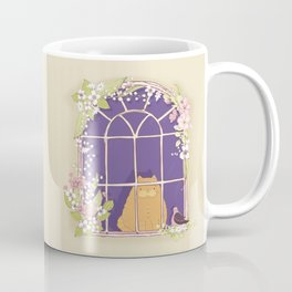 Kitty Cat In A Springtime Window With A Fancy Friend Coffee Mug