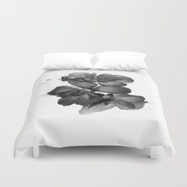Black Geranium in White Duvet Cover
