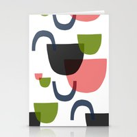 mid century modern Stationery Cards featuring Mid Century Shapes Greebn by Modern Day Magpie