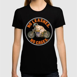No Leashes, No Cages Pug T-shirt