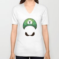luigi V-neck T-shirts featuring Luigi Vuitton by Sam Pea