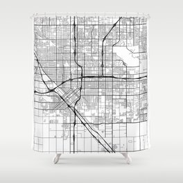 Fresno Map White Shower Curtain