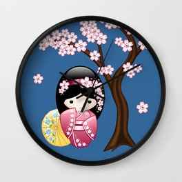 Japanese Spring Kokeshi Doll on Blue Wall Clock