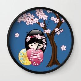 Japanese Spring Kokeshi Doll on Blue Wall Clock