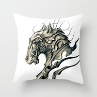 horse Throw Pillows featuring Horse by Nuam