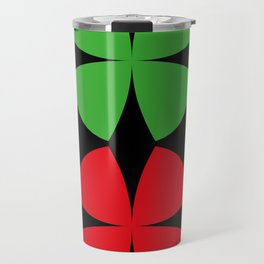 Two Four-Leaf-Clovers, one red, one green, meeting at a Party in a Black Background Travel Mug