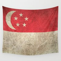 singapore Wall Tapestries featuring Old and Worn Distressed Vintage Flag of Singapore by Jeff Bartels