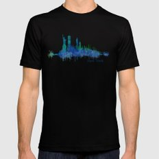 New York City Skyline Hq v06 cityscape SMALL Mens Fitted Tee Black