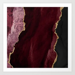 Agate, Burgundy Pink Faux Gold Art Print