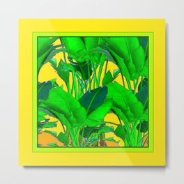 YELLOW GREEN & GOLD TROPICAL  GREEN FOLIAGE ART Metal Print