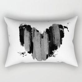 Black And Grey Abstract Love Heart Rectangular Pillow