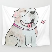 bulldog Wall Tapestries featuring Bulldog by Daynasdoodleydoos