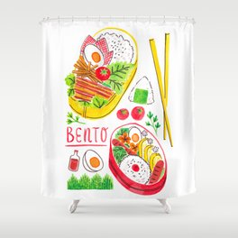 Japanese Bento Rice Lunch Box with Chopsticks & Onigiri Shower Curtain
