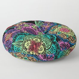 Neon Mandalas Floor Pillow