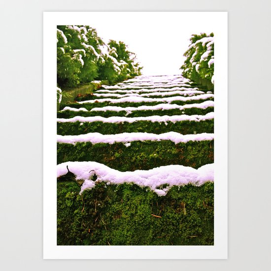 Snow-covered stairs Art Print