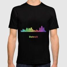 Rainbow Detroit skyline MEDIUM Black Mens Fitted Tee
