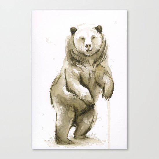 Bear Watercolor Animal Canvas Print