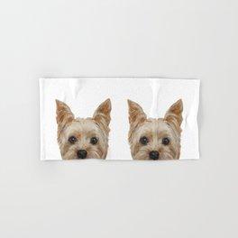 Yorkshire 2 Dog illustration original painting print Hand & Bath Towel
