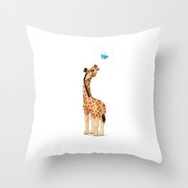Cute little giraffe. Vector graphic character Throw Pillow