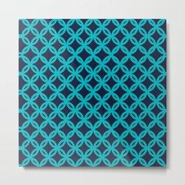 FLOWERS COINS acqua-blue Metal Print