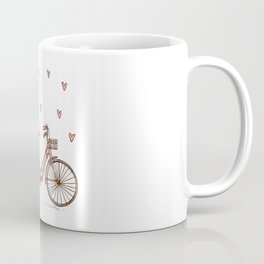 Retro vintage bicycle print with heart shaped balloons Coffee Mug