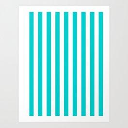 Narrow Vertical Stripes - White and Cyan Art Print
