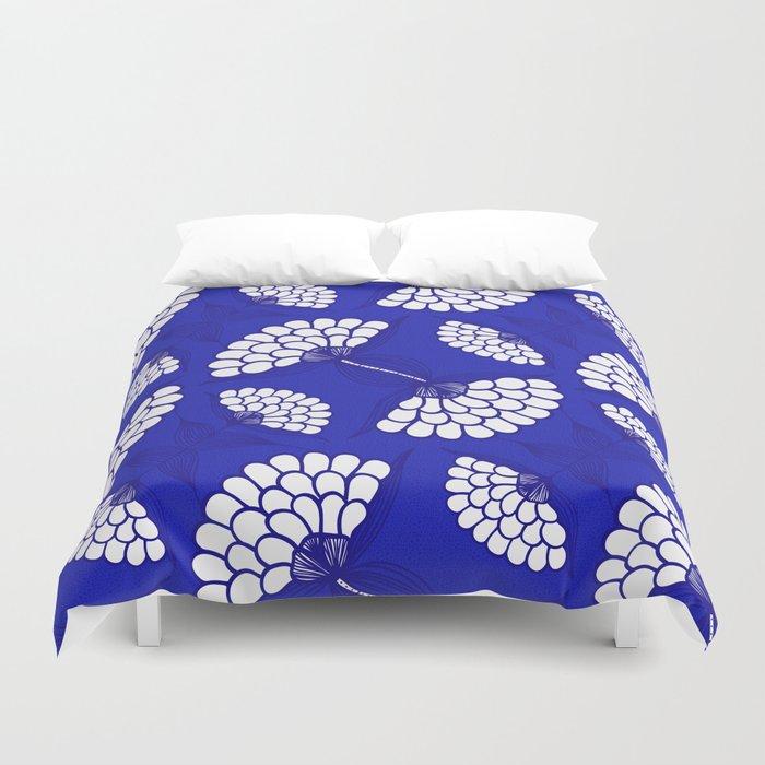 African Floral Motif on Royal Blue Duvet Cover