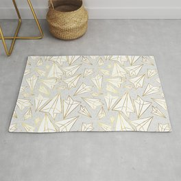 Paper Airplanes Faux Gold on Grey Rug