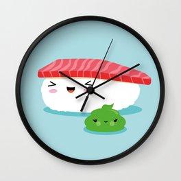Best Friends Illustration Kawaii Sushi Nigiri and Wasabi Wall Clock