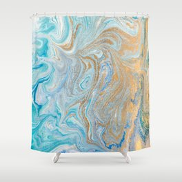 Marble turquoise gold silver Shower Curtain
