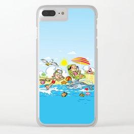 Beach Cartoons Clear iPhone Case