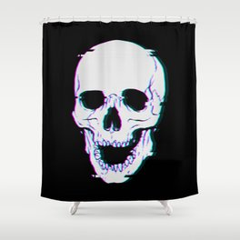 Glitch Skull Shower Curtain