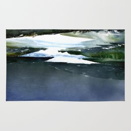 Icy white waters in forest black onyx mountains Rug