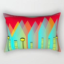 Terraced houses on red - by Matilda Lorentsson Rectangular Pillow