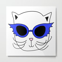 Cat Bat Sunglasses Metal Print