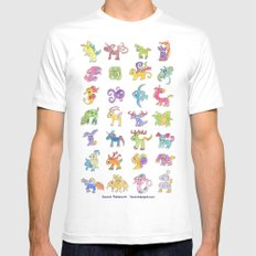 Colorful Animals White Mens Fitted Tee MEDIUM