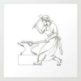 Female Blacksmith at Work Doodle Art Art Print