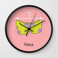 patrick Wall Clocks featuring Patrick by Jane Mathieu