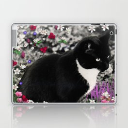 Freckles in Flowers II - Tuxedo Kitty Cat Laptop & iPad Skin