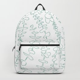 Round Eucalyptus Leaf Toss in White + Sage Backpack