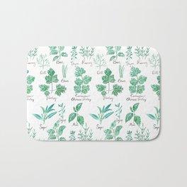 green herbs family watercolor Bath Mat