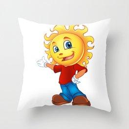 Happy Sun Cartoon Mascot  Throw Pillow