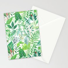 greenery watercolor pattern Stationery Cards